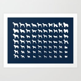 All Dogs (Navy) Art Print