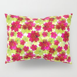 Floral red green pattern. Pillow Sham