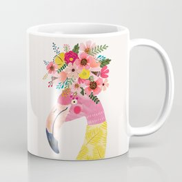 Pink flamingo with flowers on head Coffee Mug