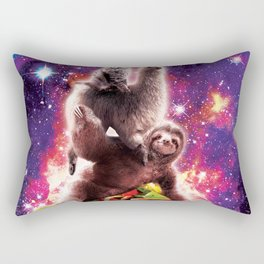 Space Cat Llama Sloth Riding Taco Rectangular Pillow
