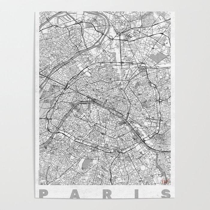Paris Map Line Poster