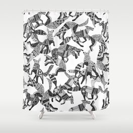 woodland fox party black white Shower Curtain