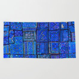 V2 Calm Blue Traditional Moroccan Cloth Texture. Beach Towel