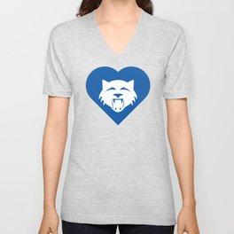 Wildcat Mascot Cares Blue Unisex V-Neck
