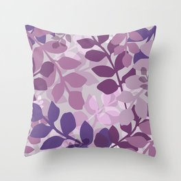 Ultra Violet Purple Lavender Leaves Pattern Throw Pillow