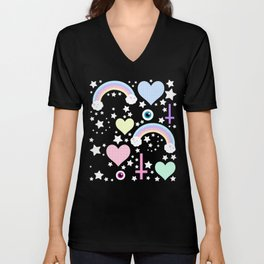 Pastel Goth Collage Unisex V-Neck