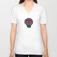sugar skulls V-neck T-shirts featuring Sugar Skulls on Black by Kara Peters