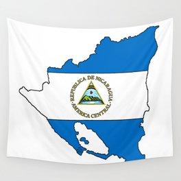 Nicaragua Map with Nicaraguan Flag Wall Tapestry