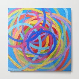 In a Spin - red on turquoise Metal Print