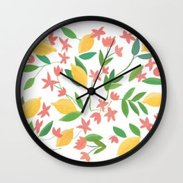 Lemons and Flowers Wall Clock