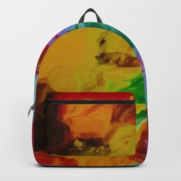 vintage psychedelic splash painting abstract in yellow brown green red purple Backpack