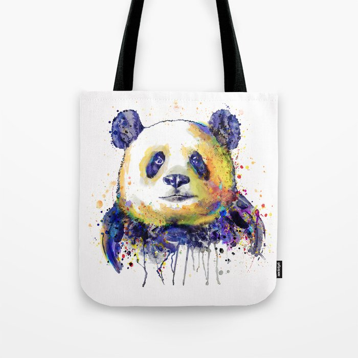 colorful panda head tote bag by marianvoicu society6
