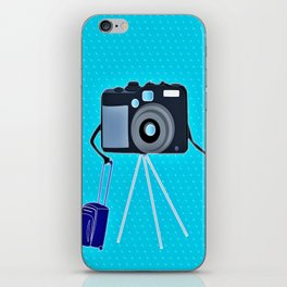 Camera on a photographic trip iPhone Skin
