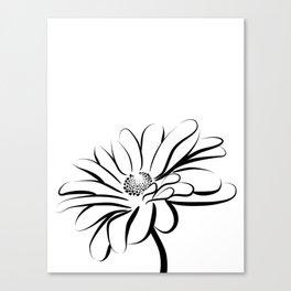 Gerbera Daisy Black & White Print 2 Canvas Print