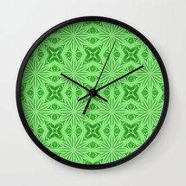 Green Flower Cross Pattern Wall Clock