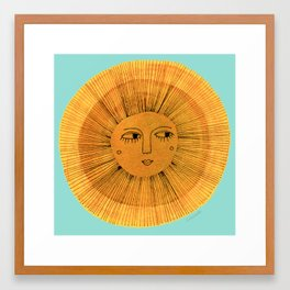 Sun Drawing - Gold and Blue Framed Art Print