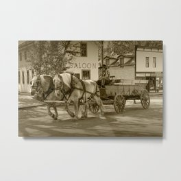 Sepia of an Old Horse Drawn Wagon in Edmonton Metal Print