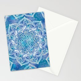 Flower of Life in Lotus - Watercolor Blue Stationery Cards