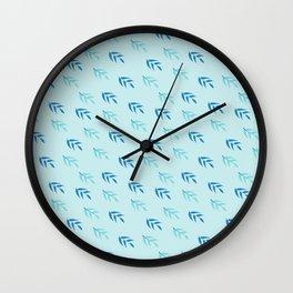 Modern pastel blue teal navy blue leaves pattern Wall Clock