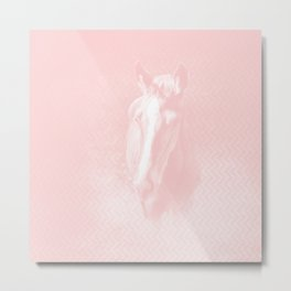 Horse emerging from the baby pink mist Metal Print