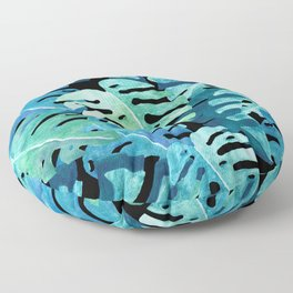 Monstera Leaf Collage | Watercolor Tropical Blue & Green on Black Floor Pillow
