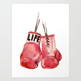 Boxing Gloves fan, Boxing Sport fan, Boxing life, Gym Art fan, watercolor painting Art Print