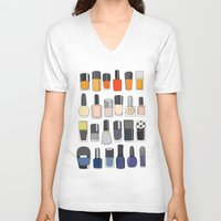 nail polish V-neck T-shirts featuring my nail polish collection by uzualsunday
