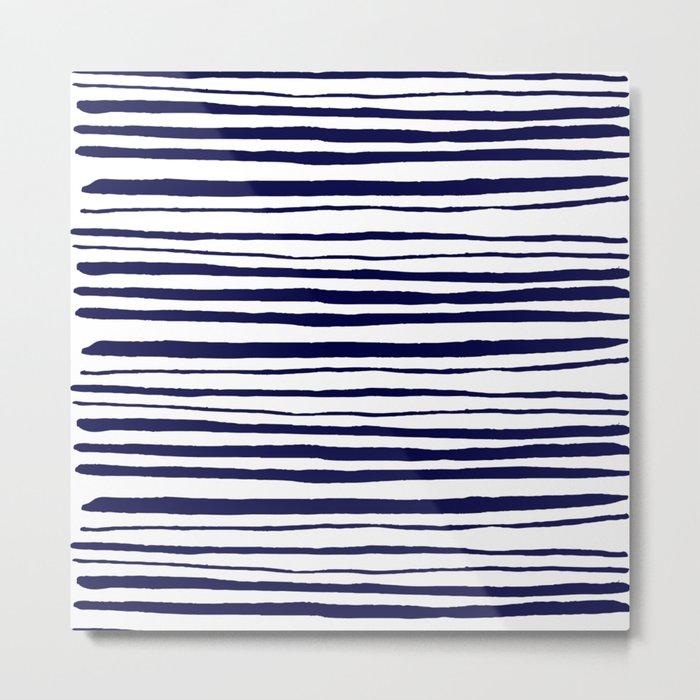 Blue- White- Stripe - Stripes - Marine - Maritime - Navy - Sea - Beach - Summer - Sailor 3 Metal Print