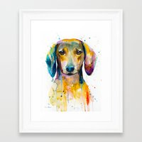 dachshund Framed Art Prints featuring Dachshund  by Slaveika Aladjova