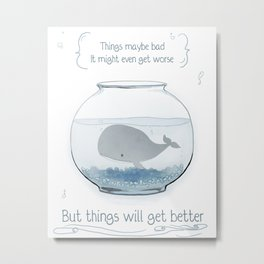 Whale in a Fishbowl Metal Print