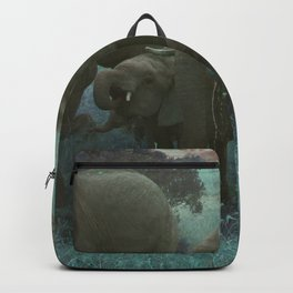 African Elephant Family Drinking in Blue Backpack