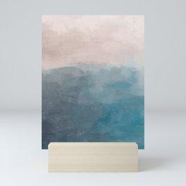 Turquoise Aqua Teal Blue Coral Rose Pink Abstract Painting, Modern Wall Art, Ocean Sunset Sand Beach Mini Art Print