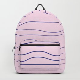 Wavy lines on the tender pink backgorund textile print Backpack