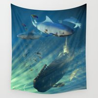 submarine Wall Tapestries featuring Submarine and Sharks by FantasyArtDesigns