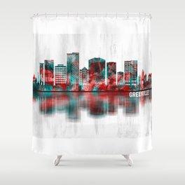 Greenville South Carolina Skyline Shower Curtain