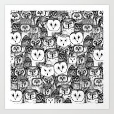just owls black white Art Print