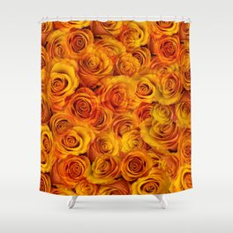 Grenadier Tangerine Roses Shower Curtain