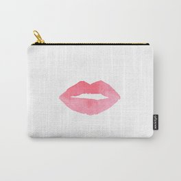 MAKEUP PRINT Pink Lips Watercolor Print Fashion Poster Abstract Lips Art Lipstick Chic Carry-All Pouch