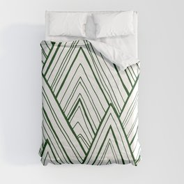 Stripe Mountains - Dark Green Comforters