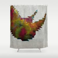 rhino Shower Curtains featuring Rhino by Dnzsea