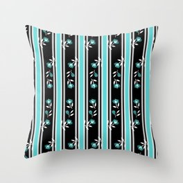 Turquoise and Black Stipes Throw Pillow