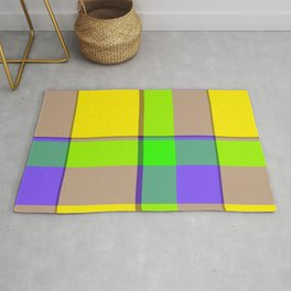 Yellow Green Purple Tartan Plaid Rug