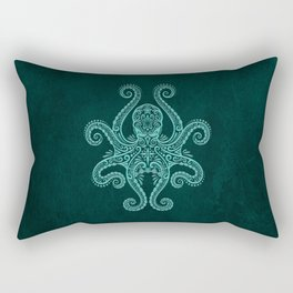 Intricate Teal Blue Octopus Rectangular Pillow