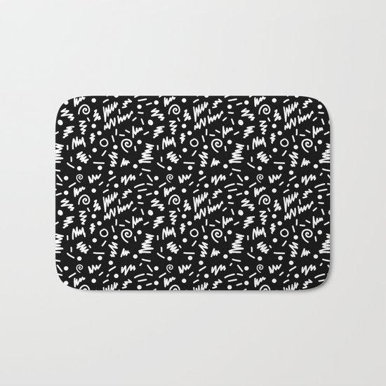 Memphis Night - black and white retro throwback 80's inspired pattern design Bath Mat