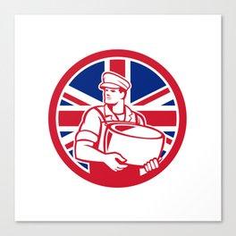 British Artisan Cheese Maker Union Jack Flag Icon Canvas Print