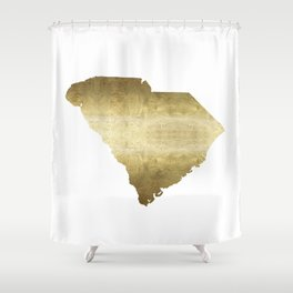 south carolina gold foil state map Shower Curtain