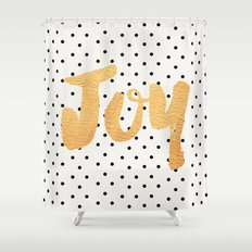 Joy - Polka dots and gold Shower Curtain