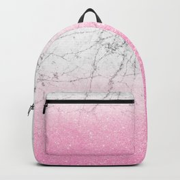 Pink Gold Glitter and Grey Marble Backpack