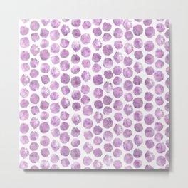 Light Pink Peony Polka Dots Metal Print