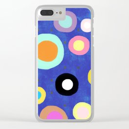 Marine Blue Watercolour Happy Circles Clear iPhone Case